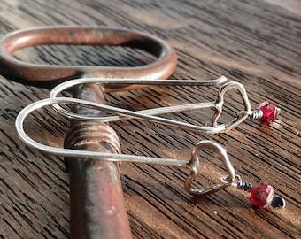 Petite Sterling Silver and Garnet Heart Earrings.