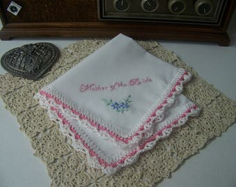 Mother of the Bride Handkerchief, Hanky, Hankie, Mom, Hand Crochet, Lace, Pink, Floral,  Personalized, Custom, Ready to ship