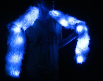 Light Up Faux Fur Boa 30 BLUE LEDs Great for the Playa, SnowGlobe or Walking after Midnight - Faux Fur Scarf with BLUE Lights - LED Boa