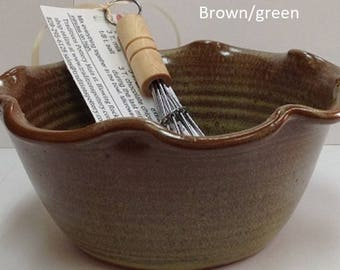 Pottery Chocolate cake bowl with recipe and whisk, FREE SHIPPING ,  handmade pottery