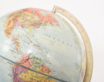 Vintage World Globe Replogle 12 Inch Reference Stereo Relief 1960s Raised Terrain Collectible Globes Home Office Decor
