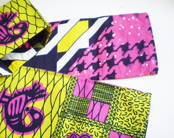 Pink Yellow African Head Scarf, Yellow Pink African Head Wrap, Reversible African Pink and Yellow Head Scarf