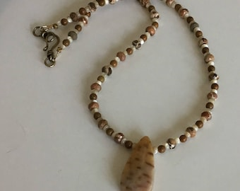 Fossil Palm Pendant Necklace with Safari Stone, Picture Jasper and Mother of Pearl