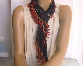 black turkish scarf, red trim, boho scarf, oya scarf