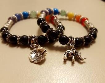 Chakra balancing rainbow bracelet, obsidian, amethyst, elephant, flower charm, healing crystal