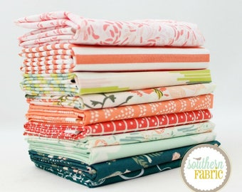 """Summer Evenings - Half Yard Bundle - 10 - 18""""x44"""" Cuts - by Mixed Designers Quilt Fabric"""