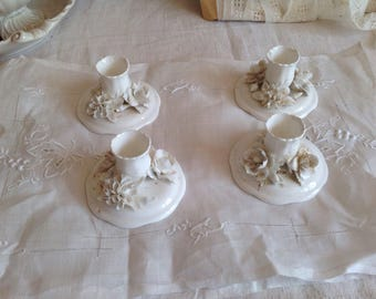 Antique White Candle Holders / Fine Bone China Floral Candlesticks, 4pc Wedding Gift Home Decor