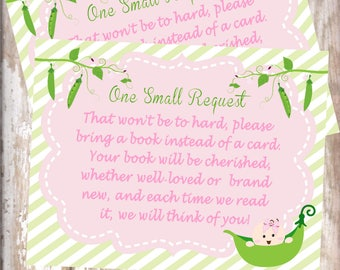 Sweet Pea -Book Request card-baby shower-new  baby - baby sprinkle