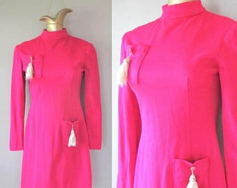40% OFF SALE Vintage 1960's HOT Pink Wiggle Dress / Silver Tassel High Neck Mod Mini Party Dress / Size Small
