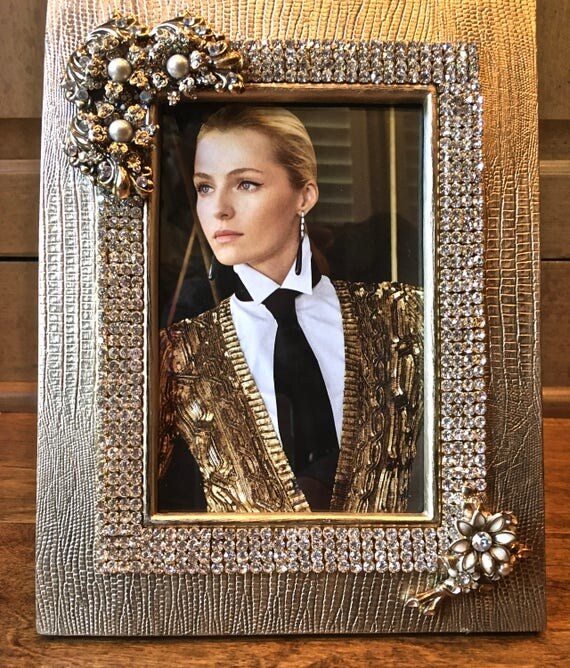 Embellished Picture Frame- Handmade Photo Frame- Art Deco Frame- Unique Gifts- Wedding Gifts- Bridal Gifts -Home Decor