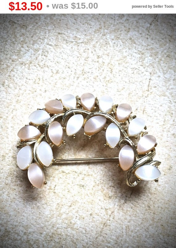 Summer Sale Peach and Cream Mother of Pearl leaf brooch