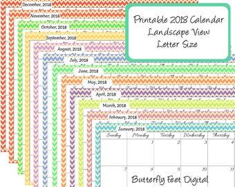 Printable 2018 Calendar Landscape View, Chevron Calendar, Monthly Planner, Instant Download, Letter Size, JPG 300 dpi
