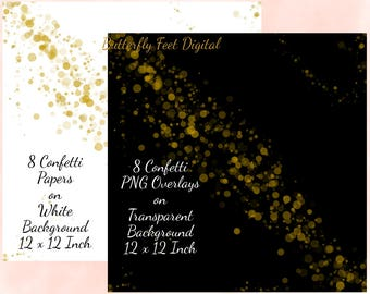 Digital Confetti, 8 PNG Transparent Overlays, plus 8 Confetti On White Background,  Confetti Sprinkles, 12x12, Instant Download