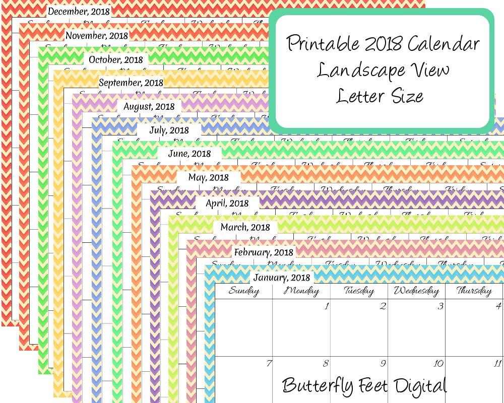 Calendar Landscape : Printable calendar landscape chevron month