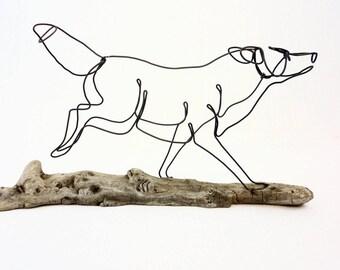 Running Wolf Wire Sculpture, Wolf Folk Art, Timber Wolf Sculpture, 545131138