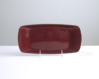 Cathrineholm Norway Strek Cathedral Red Enamel Stainless Steel Rectangular Tray