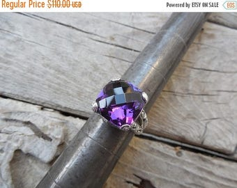 ON SALE Gorgeous deep purple amethyst ring handmade sterling silver