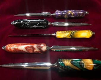 Five gorgeous letter openers with acrylic handles                  (#s 111 112 100 113 114 )