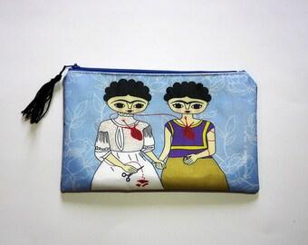 Frida Kahlo, makeup bag, cosmetic bag, Frida Kahlo portrait, frida kahlo bag, feminist art, pencil case, zipper pouch, frida kahlo art