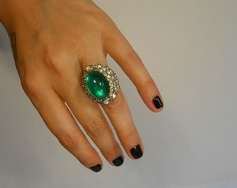 Anniversary Sale 35% Off Bet It All On The Cocktail Hour - Vintage 1950s Huge Vendôme Cocktail Ring in Green w/Rhinestones - Adjustable