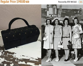 Anniversary Sale 35% Off The Next Miss Rivetor - Vintage 1940s WW2 Black Suede Coffin Box Purse Handbag w/Gold Grommets