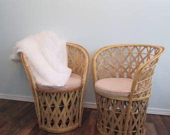 Wicker Chairs, Mid Century Wicker Seats,Vintage Rattan Chair Accent Chair  Wicker Peacock Style