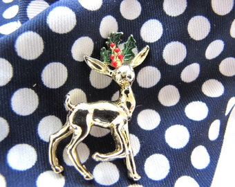 Vintage GERRYS Reindeer Holly Brooch Pin Holiday Christmas Pin from AllieEtCie