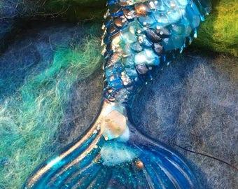 Deep Blue Resin Mermaid Tail Ornament