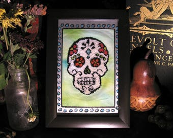 Framed Punch Needle Embroidery Sugar Skull