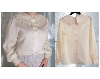 MOVING SALE 1980s Ivory Blouse, Crochet Detail Pointed Collar, Medium, Long Sleeved, White Button Down Shirt
