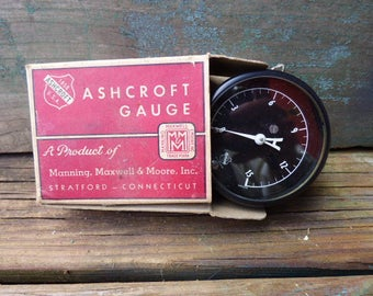 Vintage gauge in box Ashcroft Steampunk supplies Industrial pressure Fire sprinkler Water brass gauge