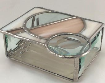 Champagne Peach tones and Clear Bevel Circle Hand Crafted Stained Glass Box