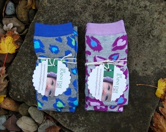 Sale - Two Pairs - Kids Leg Warmers  - Spotted Animal and Heart Pattern - Blue and Purple - Animal Print
