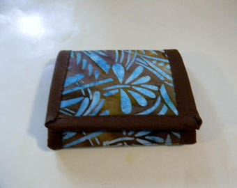 Brown and Blue Batik Trifold Wallet