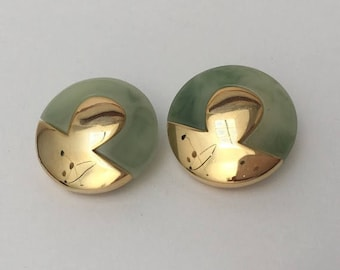 Lanvin French Button Clip Earrings Vintage Couture Jewelry