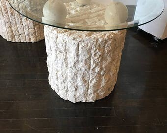 Maitland Smith Plaster Stone End Table Glass Top
