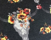 Floral Skull Boho French Terry in Charcoal Fabric by the gard BTY- one yard scrap