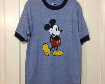 1980's Mickey Mouse Heather blue ringer T-shirt size XL 19x29 soft Disney character tee
