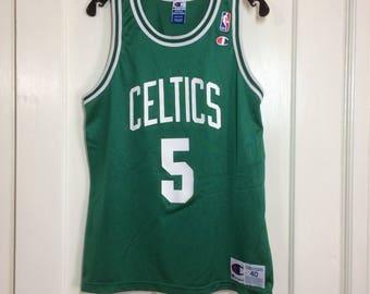 1990's Boston Celtics Ron Mercer #5 basketball team Champion brand NBA jersey kelly green Tank size 40, 19.5x26 made in USA throwback