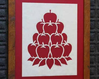 Stack Of Apples - Country Red - Home Office Wall Decor - Framed 11x14 - Hand Paper Cutting Art signed and dated By Janet Lynch - Framed