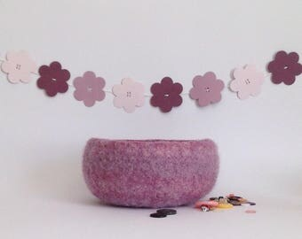 FELTED 'FUSSPOT' bowl . ' Wild Heather'  ( a purple /pink  blend ) ....UK seller..ready to ship......