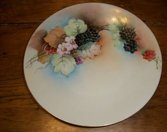 Hand Painted Plate-- Blackberries--Leaves--Blossoms--Bavaria