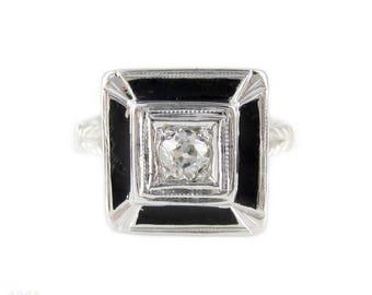 Old Mine Cut Diamond & Black Enamel Ring. Antique Diamond in 18k Engraved Square Setting, Circa 1920s.