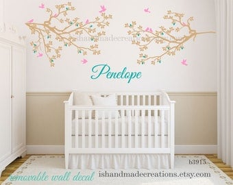 Cherry blossom wall decal /  nursery wall decal /  birds with name and  branch Wall sticker /  birds Nursery wall decal tree wall decal