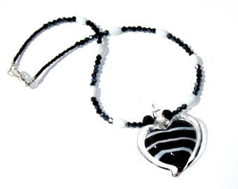 Black and White heart pendant glass and crystal beaded necklace