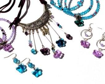 Mix match jewelry, multi piece set, purple teal aqua, bib necklace, bangle bracelets, butterfly earrings, blue jewelry, BOHO Hippie