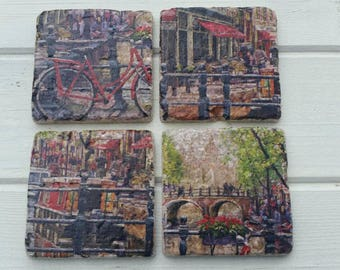 Amsterdam River Cafe Stone Coaster Set of 4 Tea Coffee Beer Coasters
