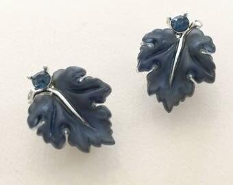 Lisner Lucite Leaves Earrings, Vintage Jewelry, Lisner Jewelry, Blue Oak Leaves Clip On Earrings, Lucite Jewelry, Vintage Earrings Thermoset