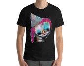 Short-Sleeve T-Shirt, Abstract Clown portrait t shirt, mens graffiti shirt, outsider art top, gift for him, dudes tshirt, creepy cute