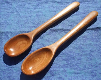 Cooking spoon set - Hand carved from curly cherry wood